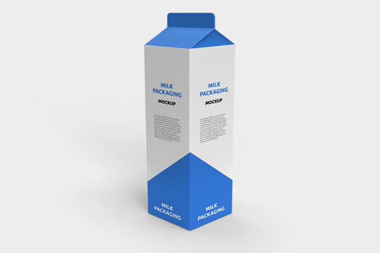 Free Milk Carton Box Packaging Mockup
