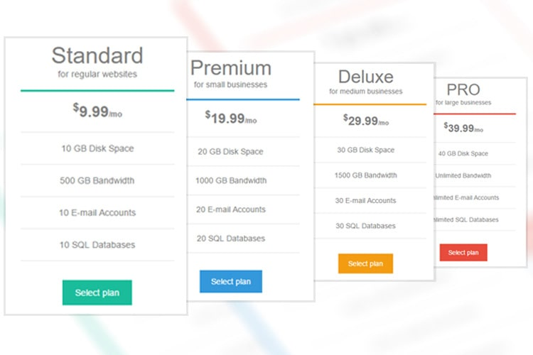 Bootstrap Pricing Table