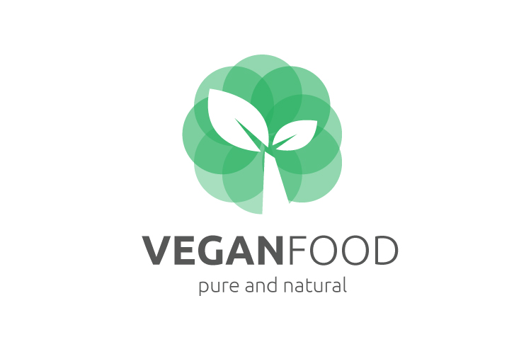 Vegan food logo template vector